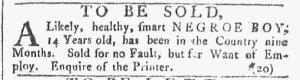 Mar 3 1770 - Providence Gazette Slavery 1