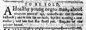 Mar 5 1770 - New-York Gazette and Weekly Mercury Slavery 2