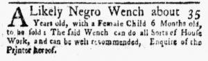 Mar 5 1770 - New-York Gazette and Weekly Mercury Slavery 4