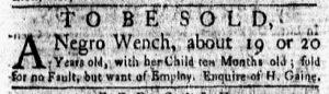 Mar 5 1770 - New-York Gazette and Weekly Mercury Slavery 6