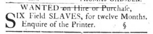 Mar 6 1770 - South-Carolina Gazette and Country Journal Slavery 1