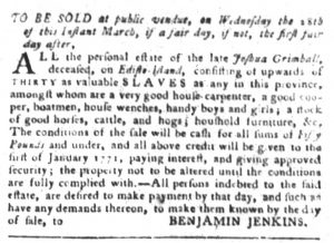 Mar 6 1770 - South-Carolina Gazette and Country Journal Slavery 2