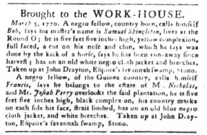 Mar 6 1770 - South-Carolina Gazette and Country Journal Slavery 3
