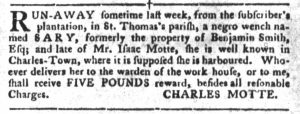 Mar 6 1770 - South-Carolina Gazette and Country Journal Supplement Slavery 3