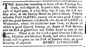 Mar 6 1770 - South-Carolina Gazette and Country Journal Supplement Slavery 6