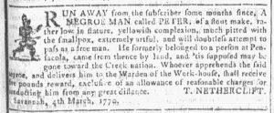 Mar 7 1770 - Georgia Gazette Slavery 2