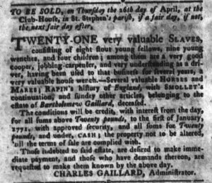 Apr 10 1770 - South-Carolina Gazette and Country Journal Slavery 4
