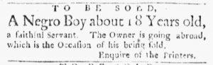 Apr 2 1770 - Boston Evening-Post Slavery 1