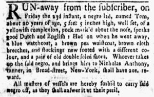 Apr 2 1770 - New-York Gazette and Weekly Mercury Slavery 1
