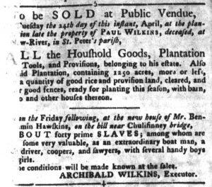 Apr 3 1770 - South-Carolina Gazette and Country Journal Slavery 1