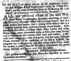 Apr 3 1770 - South-Carolina Gazette and Country Journal Slavery 10