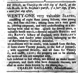 Apr 3 1770 - South-Carolina Gazette and Country Journal Slavery 3