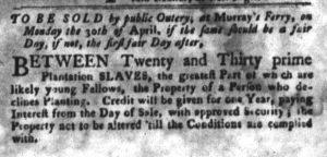 Apr 3 1770 - South-Carolina Gazette and Country Journal Slavery 9