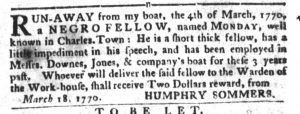 Apr 3 1770 - South-Carolina Gazette and Country Journal Supplement Slavery 2