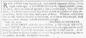 Apr 4 1770 - Georgia Gazette Slavery 1