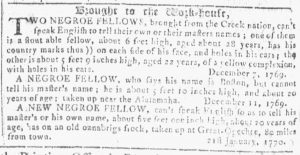 Apr 4 1770 - Georgia Gazette Slavery 10