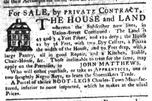 Apr 4 1770 - South-Carolina Gazette Supplement Slavery 2