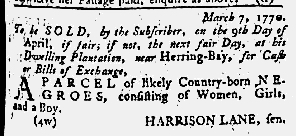 Apr 5 1770 - Maryland Gazette Slavery 1