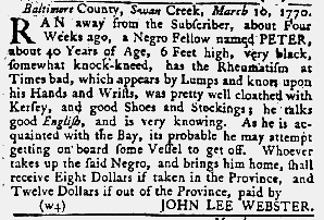Apr 5 1770 - Maryland Gazette Slavery 2