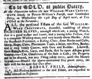 Apr 5 1770 - South-Carolina Gazette Supplement Slavery 2