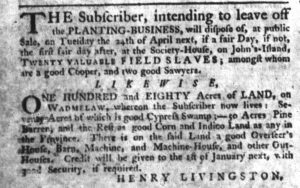 Apr 5 1770 - South-Carolina Gazette Supplement Slavery 3