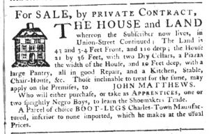 Apr 5 1770 - South-Carolina Gazette Supplement Slavery 5