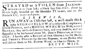 Apr 5 1770 - South-Carolina Gazette Supplement Slavery 8