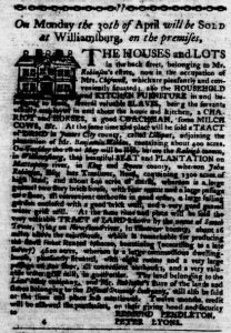 Apr 5 1770 - Virginia Gazette Purdie & Dixon Slavery 1