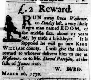 Apr 5 1770 - Virginia Gazette Purdie & Dixon Slavery 4