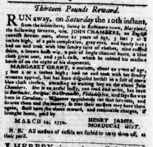 Apr 5 1770 - Virginia Gazette Purdie & Dixon Slavery 5
