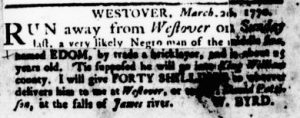 Apr 5 1770 - Virginia Gazette Rind Slavery 1