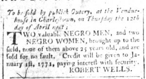 Apr 6 1770 - South-Carolina and American General Gazette Slavery 2