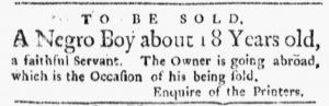 Apr 9 1770 - Boston Evening-Post Slavery 1