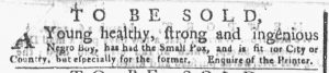 Apr 9 1770 - New-York Gazette or Weekly Post-Boy Slavery 1