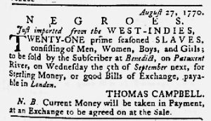 Aug 30 1770 - Maryland Gazette Slavery 1