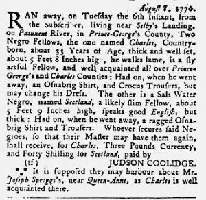 Aug 30 1770 - Maryland Gazette Slavery 4