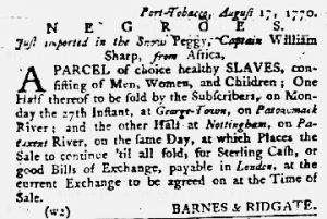 Aug 30 1770 - Maryland Gazette Slavery 5
