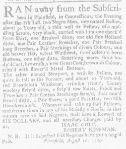 Aug 30 1770 - Massachusetts Gazette and Boston Weekly News-Letter Slavery 1