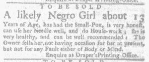Aug 30 1770 - Massachusetts Gazette and Boston Weekly News-Letter Slavery 2