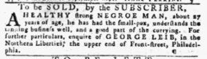 Aug 30 1770 - Pennsylvania Gazette Slavery 1