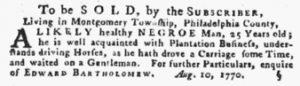 Aug 30 1770 - Pennsylvania Gazette Supplement Slavery 1