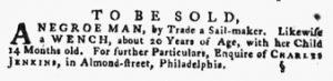 Aug 30 1770 - Pennsylvania Gazette Supplement Slavery 2