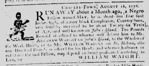 Aug 30 1770 - South-Carolina Gazette Continuation Slavery 1