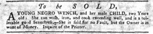 Aug 30 1770 - South-Carolina Gazette Slavery 1