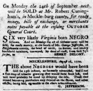 Aug 30 1770 - Virginia Gazette Purdie & Dixon Slavery 3