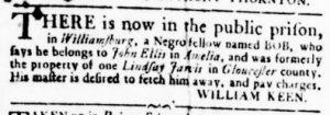 Aug 30 1770 - Virginia Gazette Rind Slavery 5