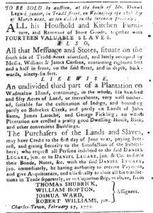 Mar 13 1770 - South-Carolina Gazette and Country Journal Slavery 1
