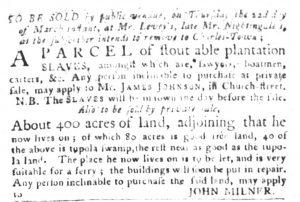 Mar 13 1770 - South-Carolina Gazette and Country Journal Slavery 2