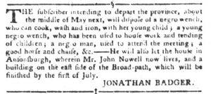 Mar 13 1770 - South-Carolina Gazette and Country Journal Slavery 3