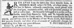 Mar 14 1770 - Georgia Gazette Slavery 1